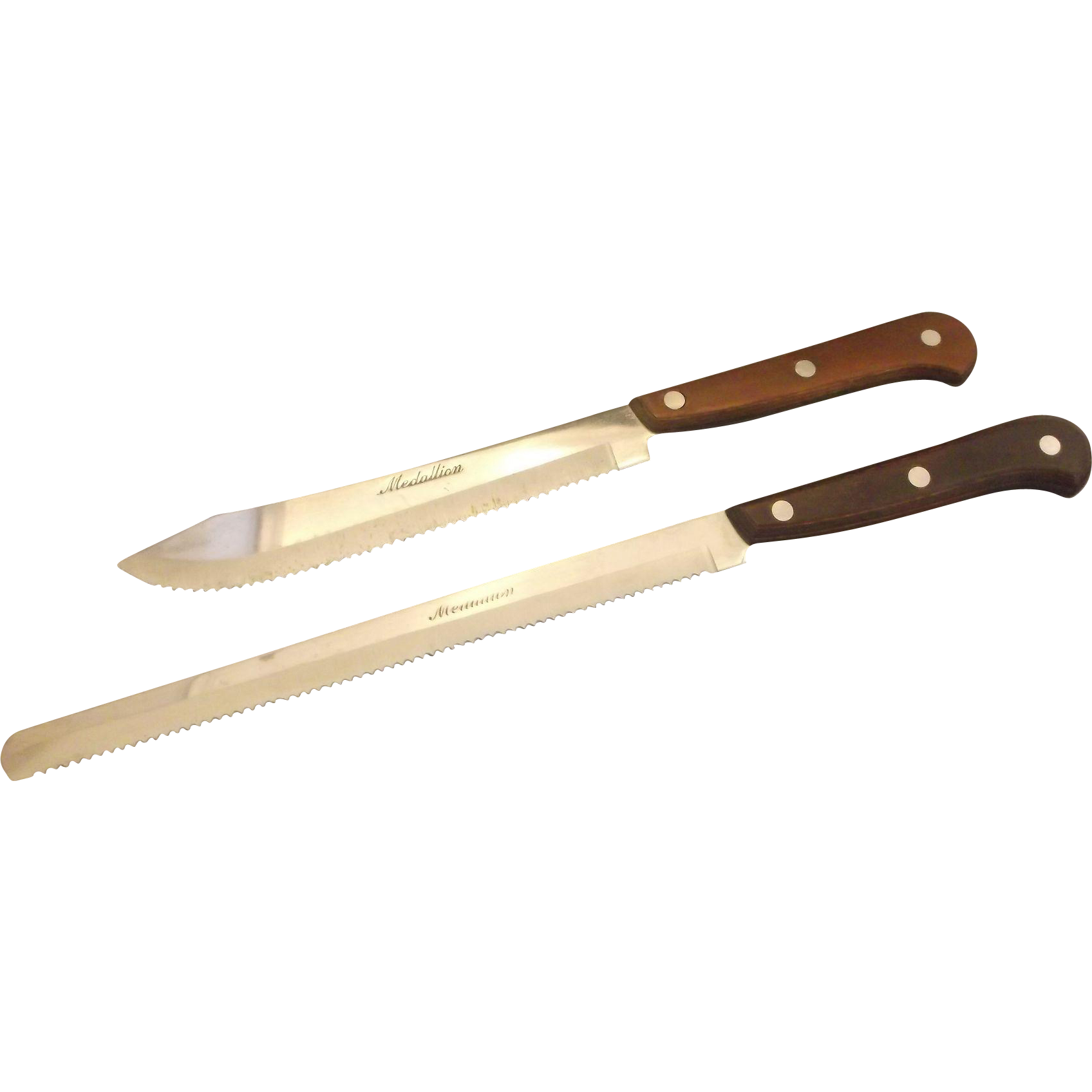 Medallion Stainless Steel Japan Knives Pair Bread Carving Serrated Blades Wood Handles Full Tang