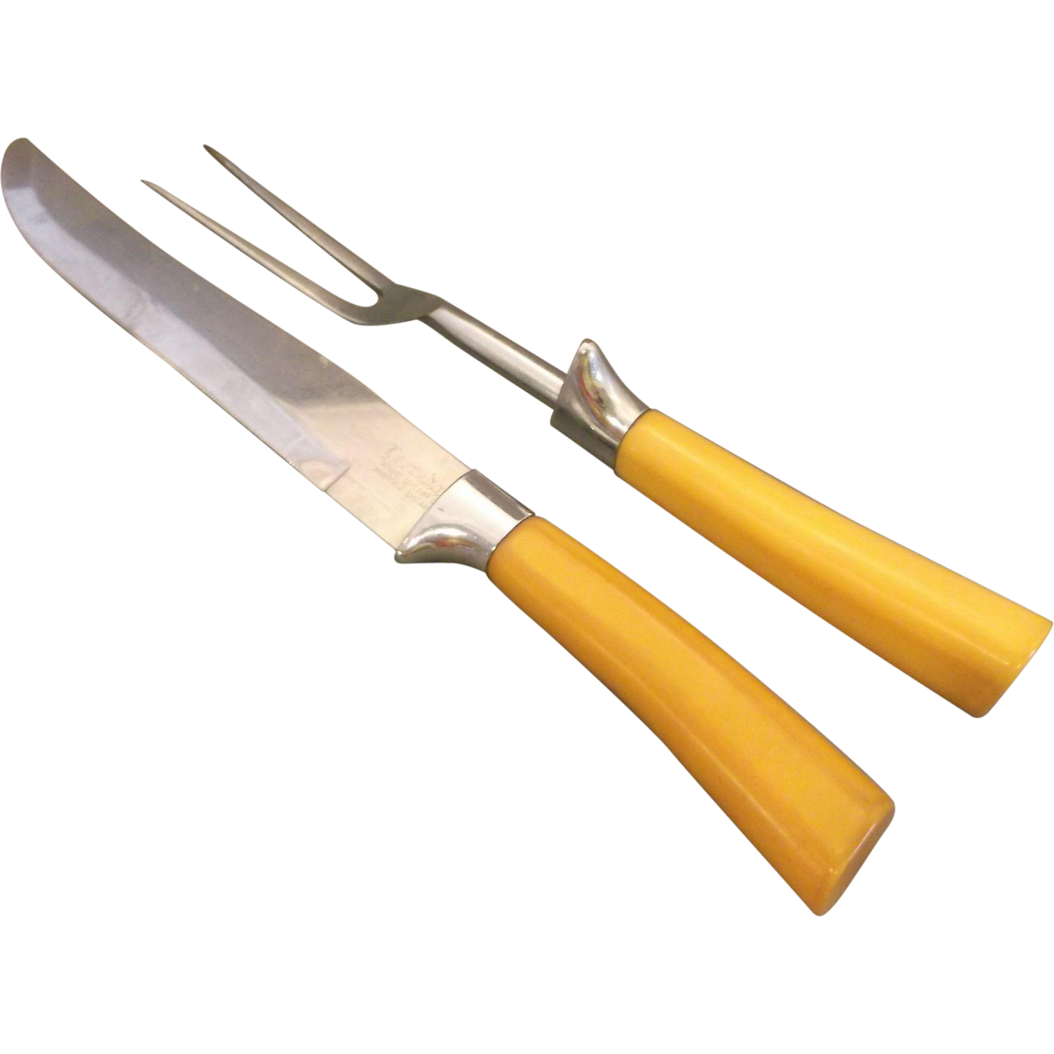 Peeredge Regent Cutlery Co. Sheffield England Butterscotch Mustard Bakelite Handles Stainless Steel Carving Knife Fork