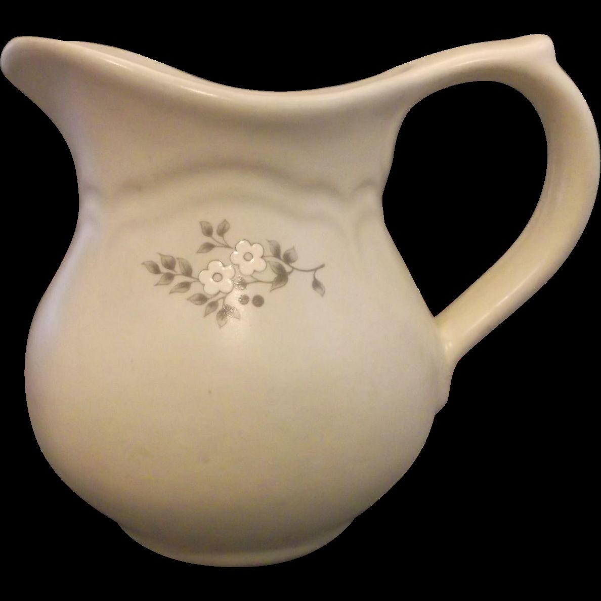 Pfaltzgraff Heirloom Creamer Grey White Flowers