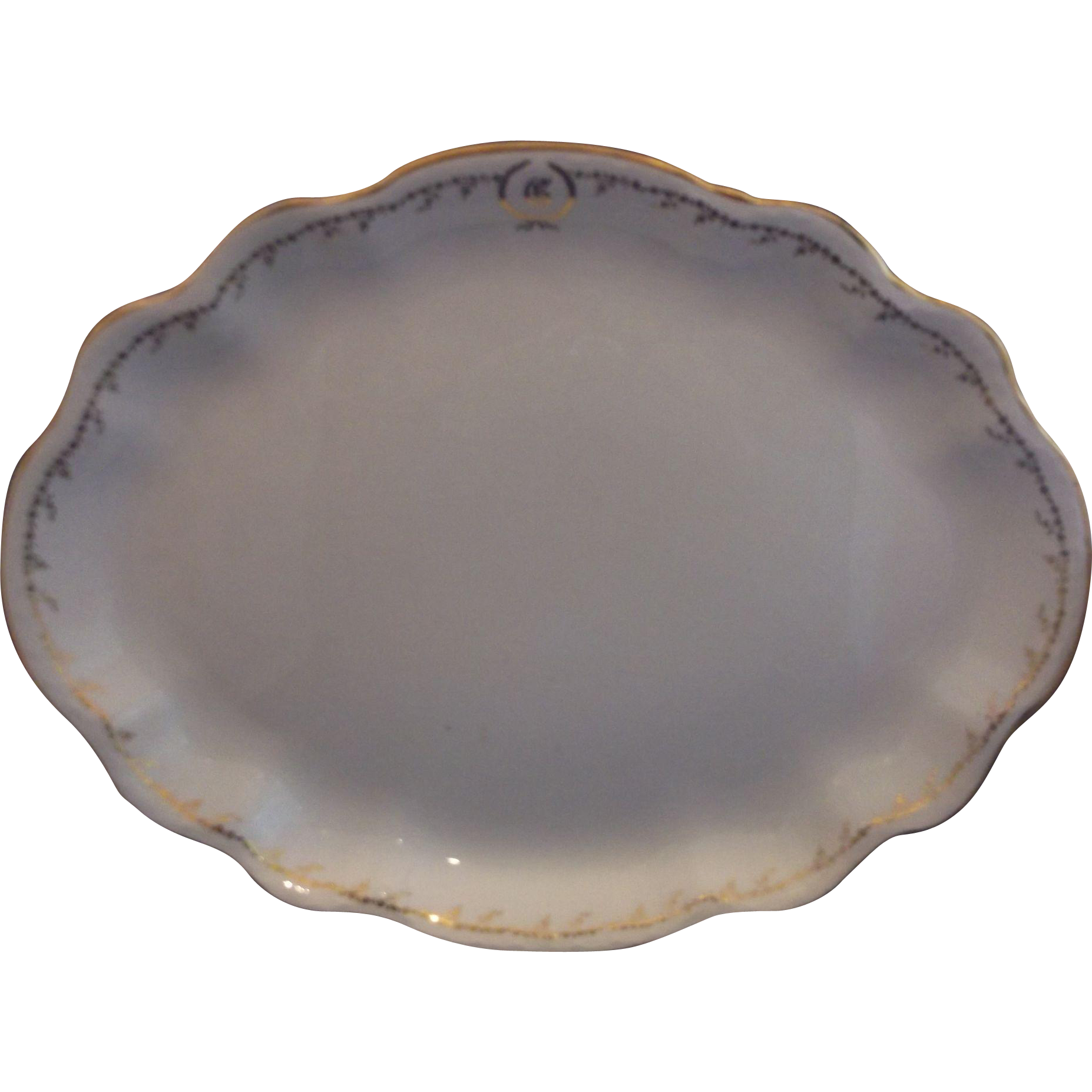 Homer Laughlin Hudson Gold Floral White Ironstone Large Oval Scalloped Platter Monogram