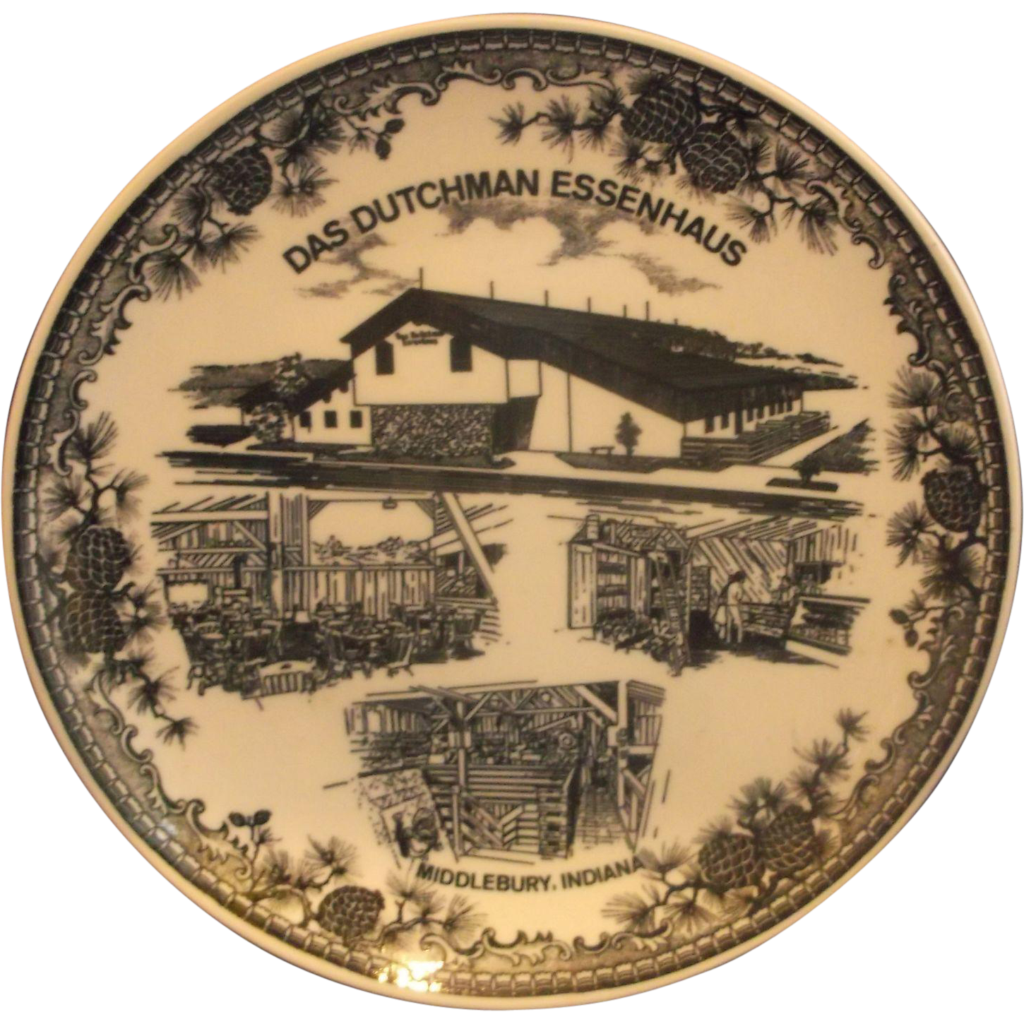Das Dutchman Essenhaus Black Transferware Souvenir Plate Made in Japan
