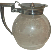 Pyrex Floral Engraved Spray Pattern Teapot Beverage Server Chrome Handle Lid 1920s-30s