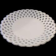 Challinor, Taylor Milk Glass Closed Lattice Edge Shallow Bowl EAPG Victorian