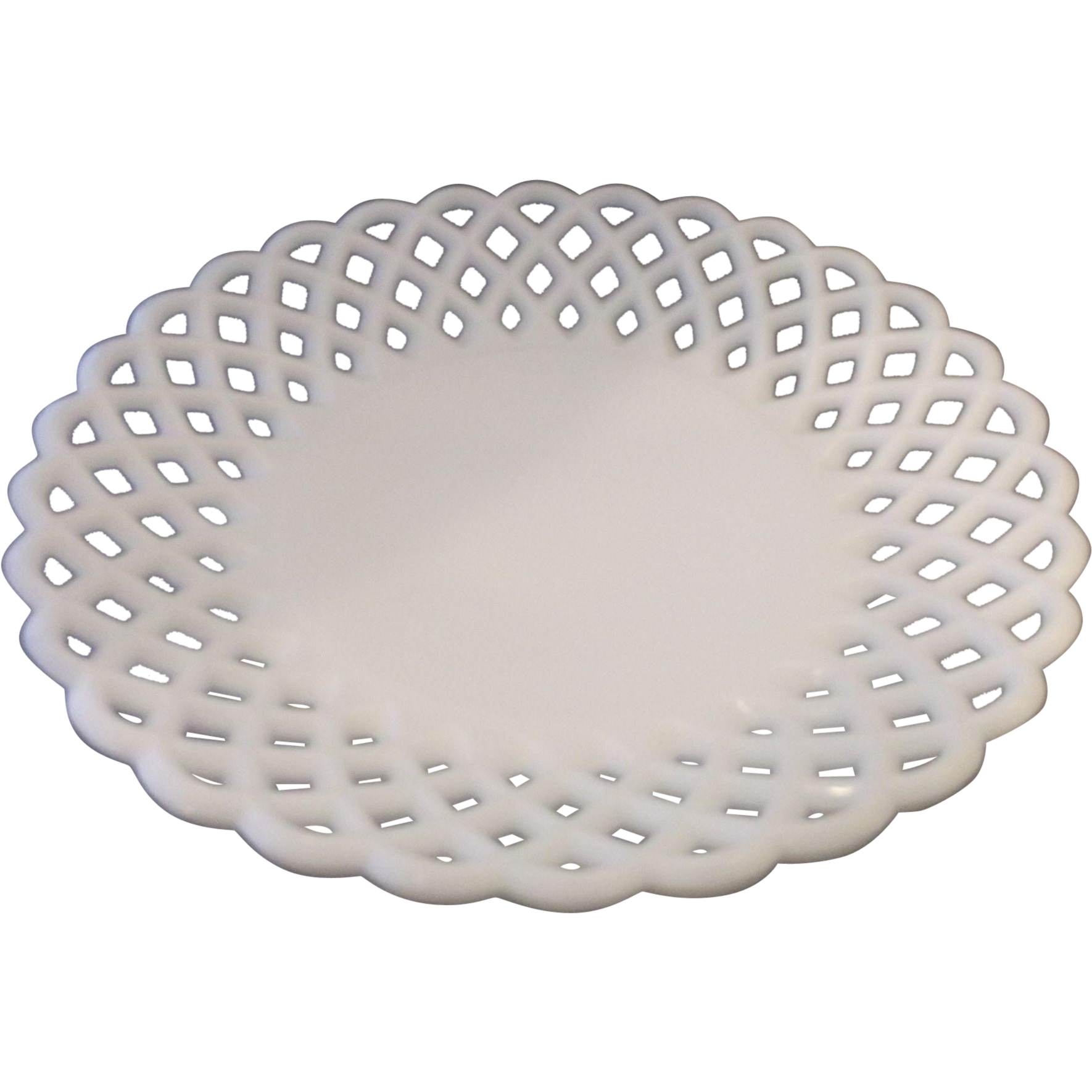 Challinor, Taylor Milk Glass Closed Lattice Edge Shallow Bowl EAPG Victorian