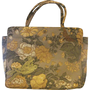 Margaret Smith Gardiner Maine Brown Floral Purse Butterflies Birds Pears