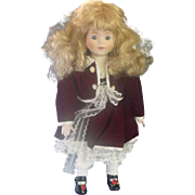 Brinn's Megan Doll 1988 1989 Red Velvet Dress Blonde Hair Blue Eyes Made in Taiwan 989/12,500