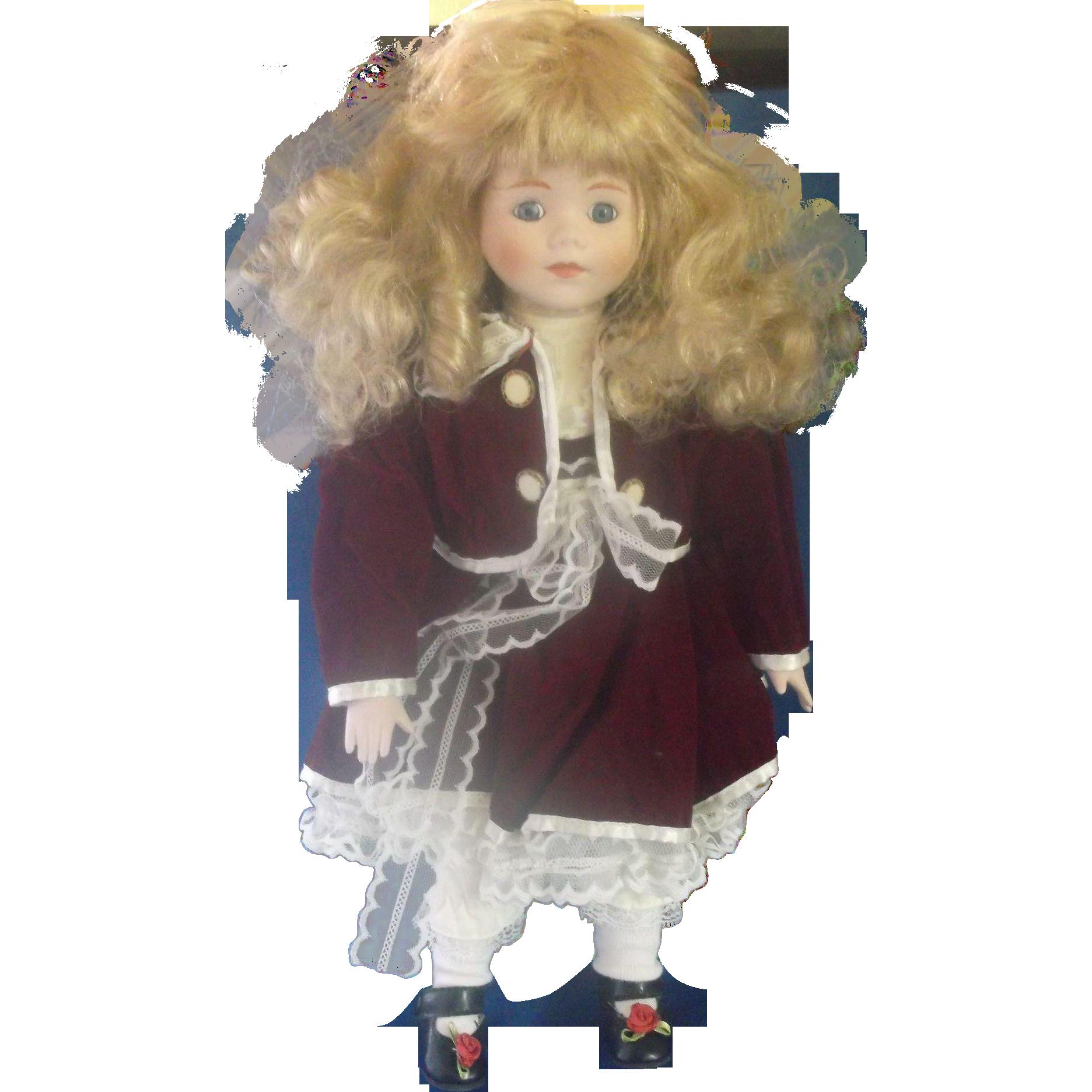Brinn's Megan Doll 1988 1989 Red Velvet Dress Blonde Hair Blue Eyes Made in Taiwan 989/12,500