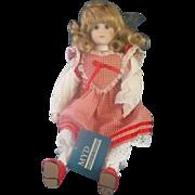 Marian Yu Designs Porcelain Doll Red Gingham Check Dress  1989