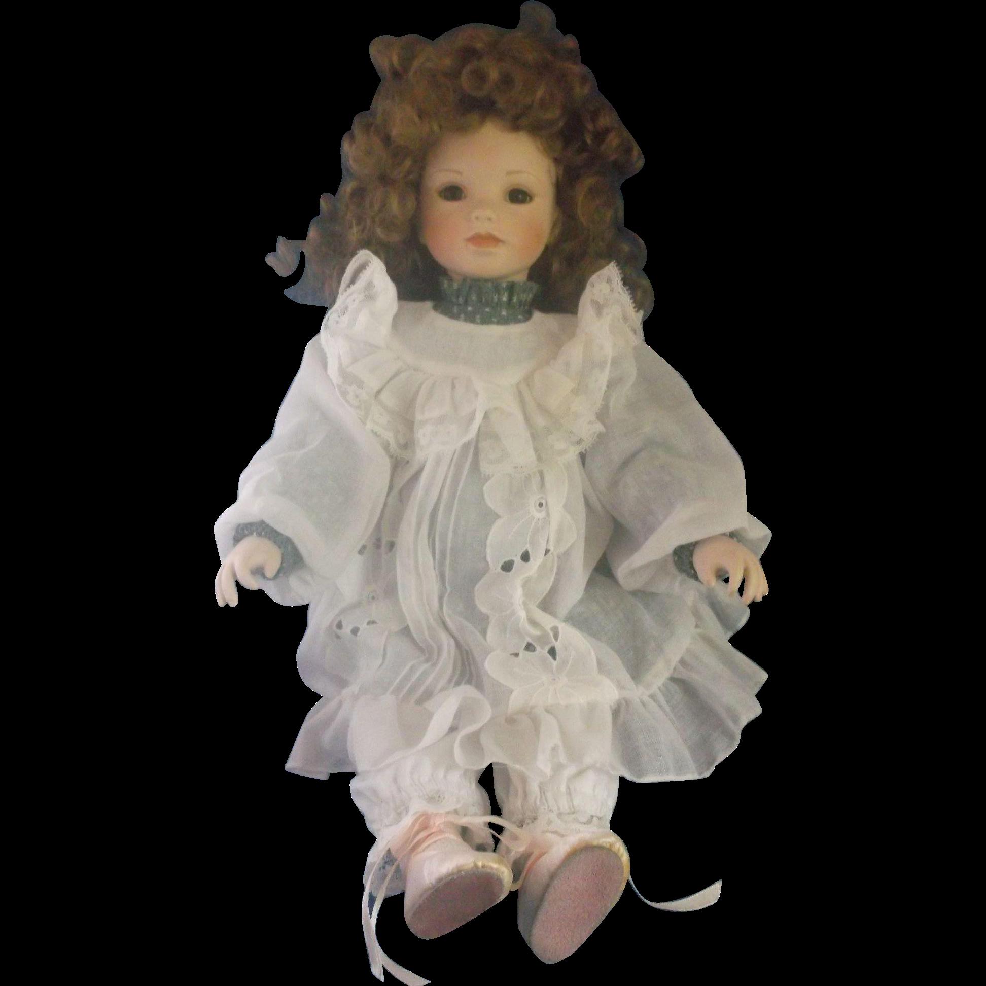 "Galy Padem-Ann Red Hair Doll Porcelain Green Dress 19"""