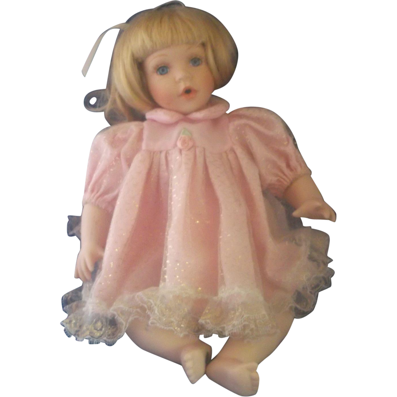 Marian Yu Porcelain Baby Toddler Doll Pink Dress Blonde Hair