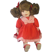 Red Sailor Dress Curly Brown Pigtails Porcelain Doll