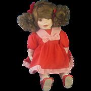 Red Sailor Dress Curly Brown Pigtails Porcelain Doll
