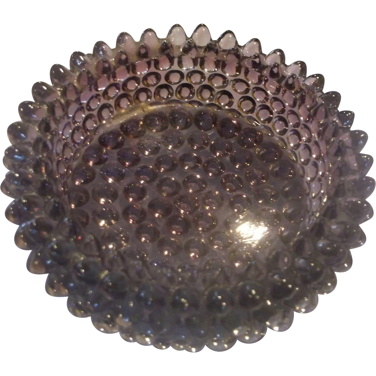Fenton Amethyst Purple Hobnail Round Ashtray Pin Dish