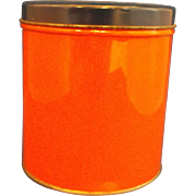 Orange Canister Navy Blue Lid Small Vintage 1930s-40s