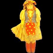 Hungarian Composition Cloth Souvenir Doll Girl Apron Flower Bonnet
