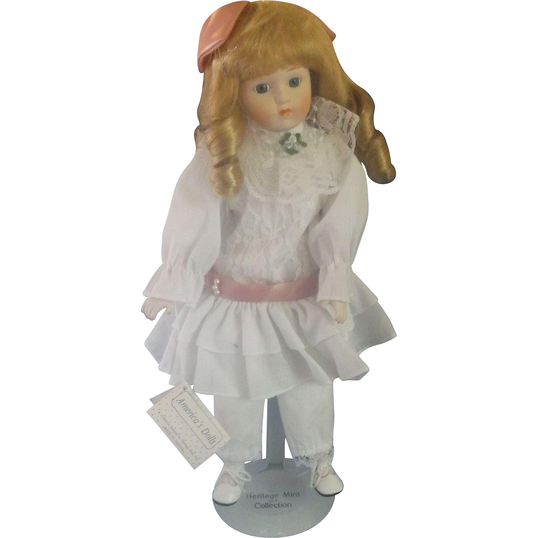 Heritage Mint America's Dolls Candy Porcelain Bisque Doll Blonde Blue Eyes White Dress 1980s