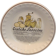 Quiche Lorraine Pie Plate Pan Baker Recipe Printed Hankook Korea