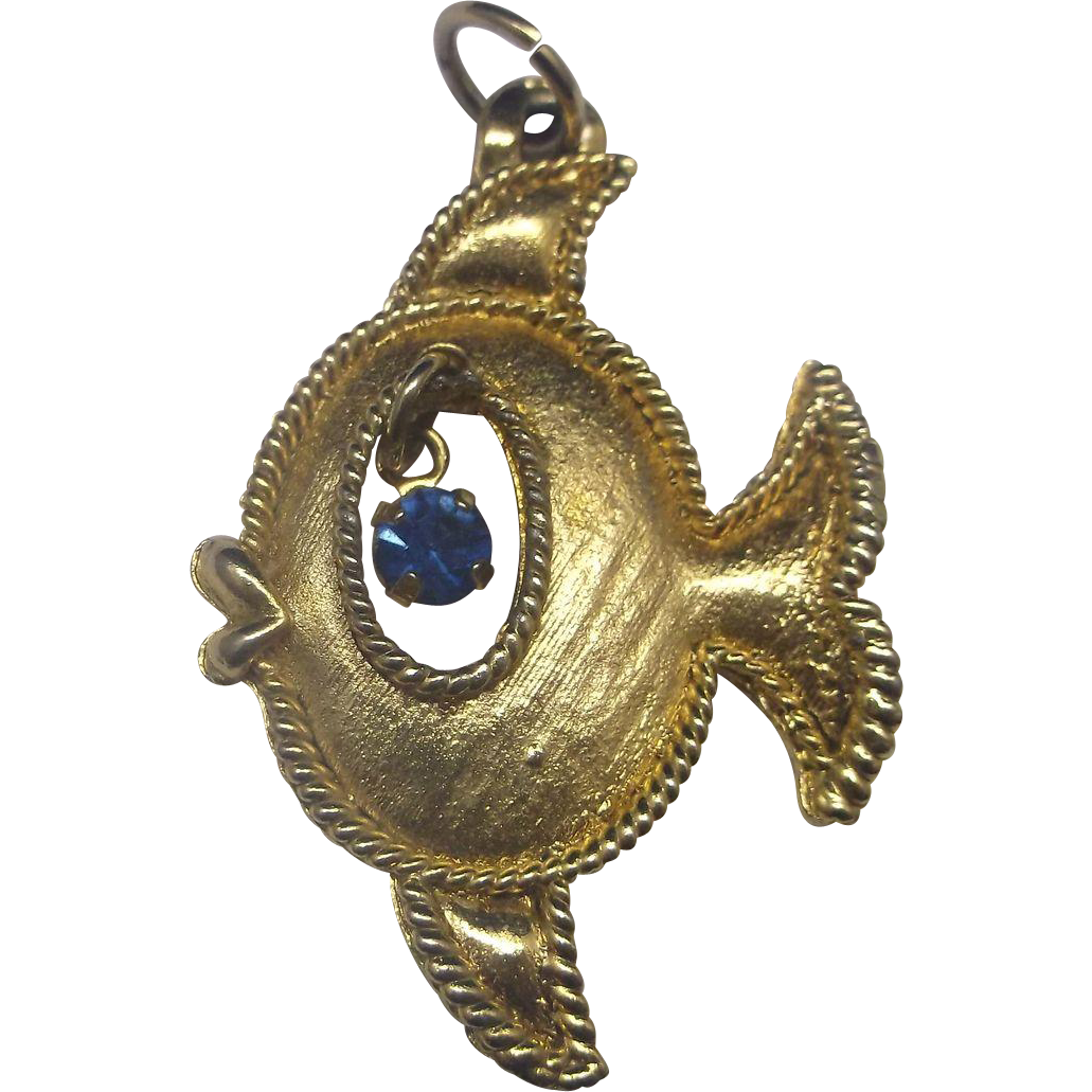 Fish Gold Tone Pendant Blue Rhinestone Eye Whimsical