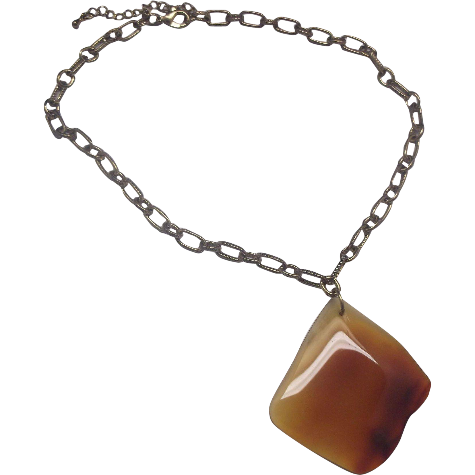 Agate Slice Pendant Necklace Orange Red