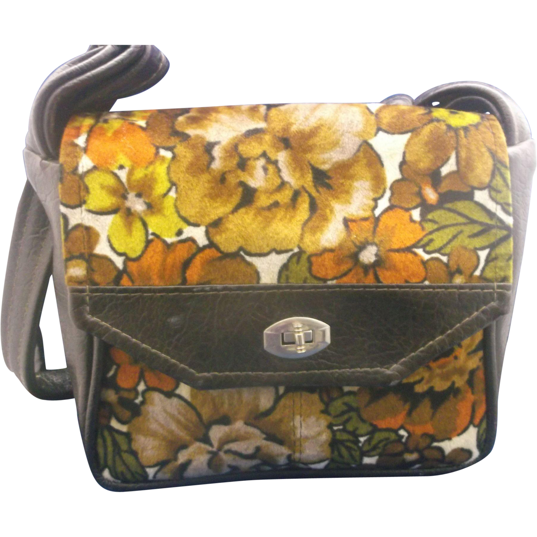 Dark Floral Brown Vinyl Velour Shoulder Bag Purse
