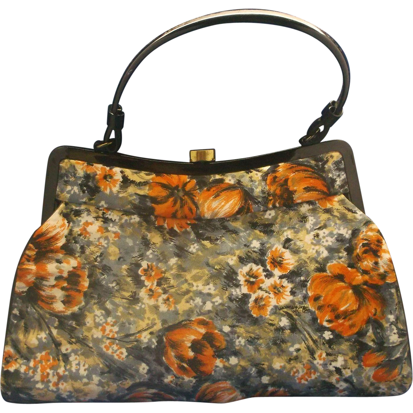 Watercolor Floral Purse Handbag Red Black Grey