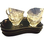 Hazel Atlas Moroccan Amethyst Snack Set 4 Trays 4 Clear Cups