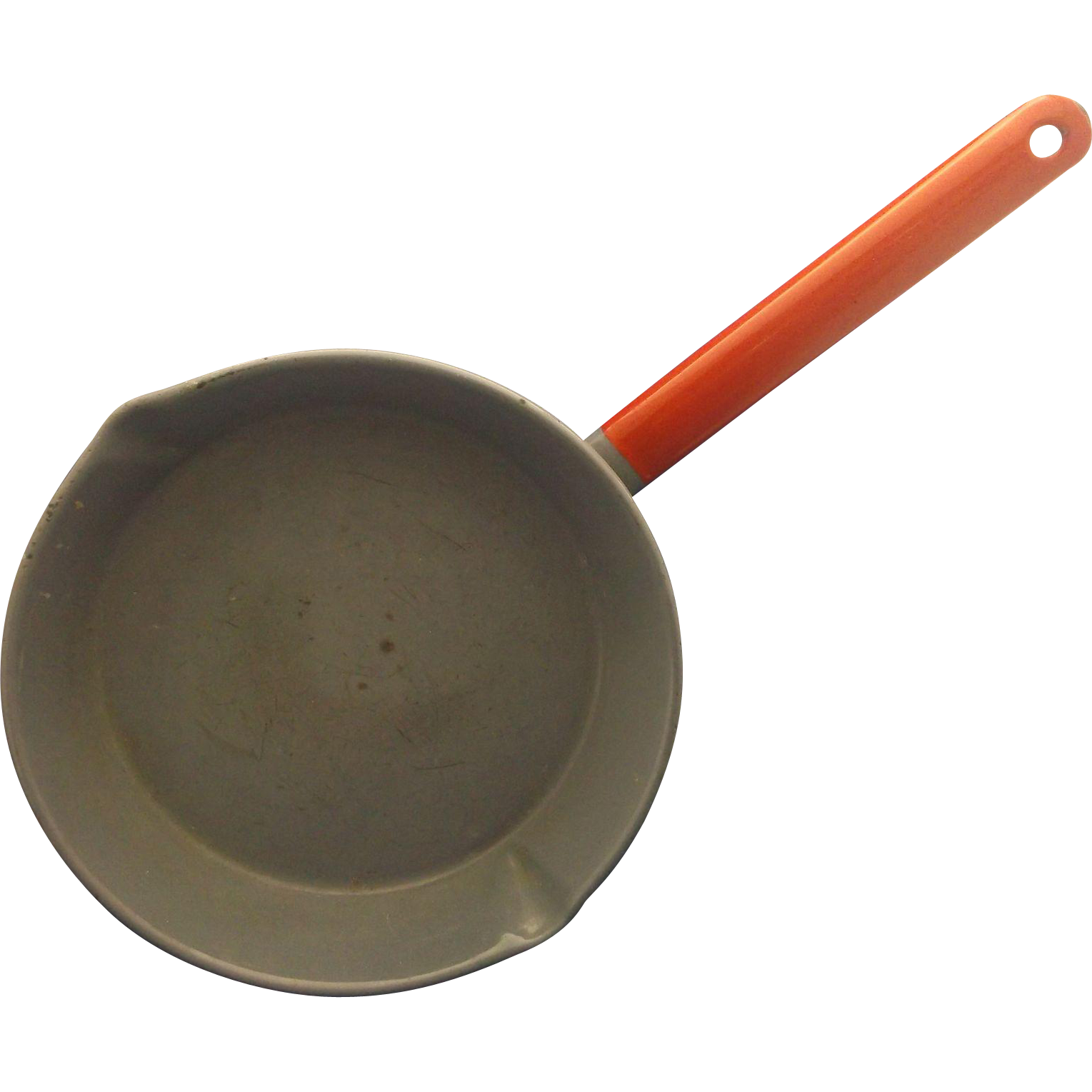 Blue Grey Enamel Red Handle Frying Pan Skillet