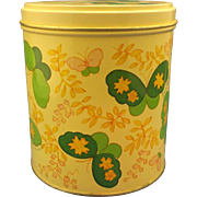 Jean Nate Dusting Powder Yellow Green Butterflies Tin Empty