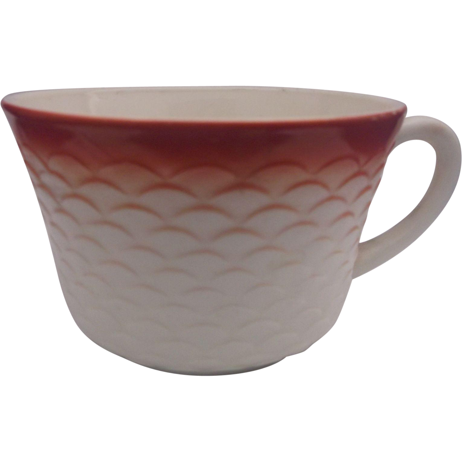 Anchor  Hocking Fish Scale Cup Ivory Red Trim