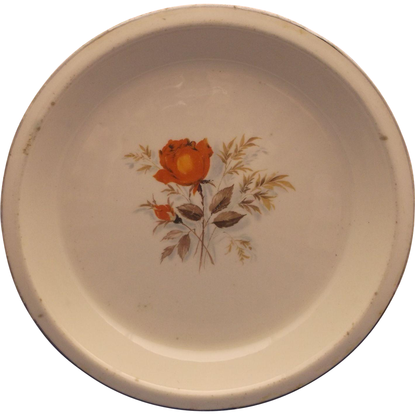 Paden City Pottery Pie Plate Baker Orange Rose Gold Trim