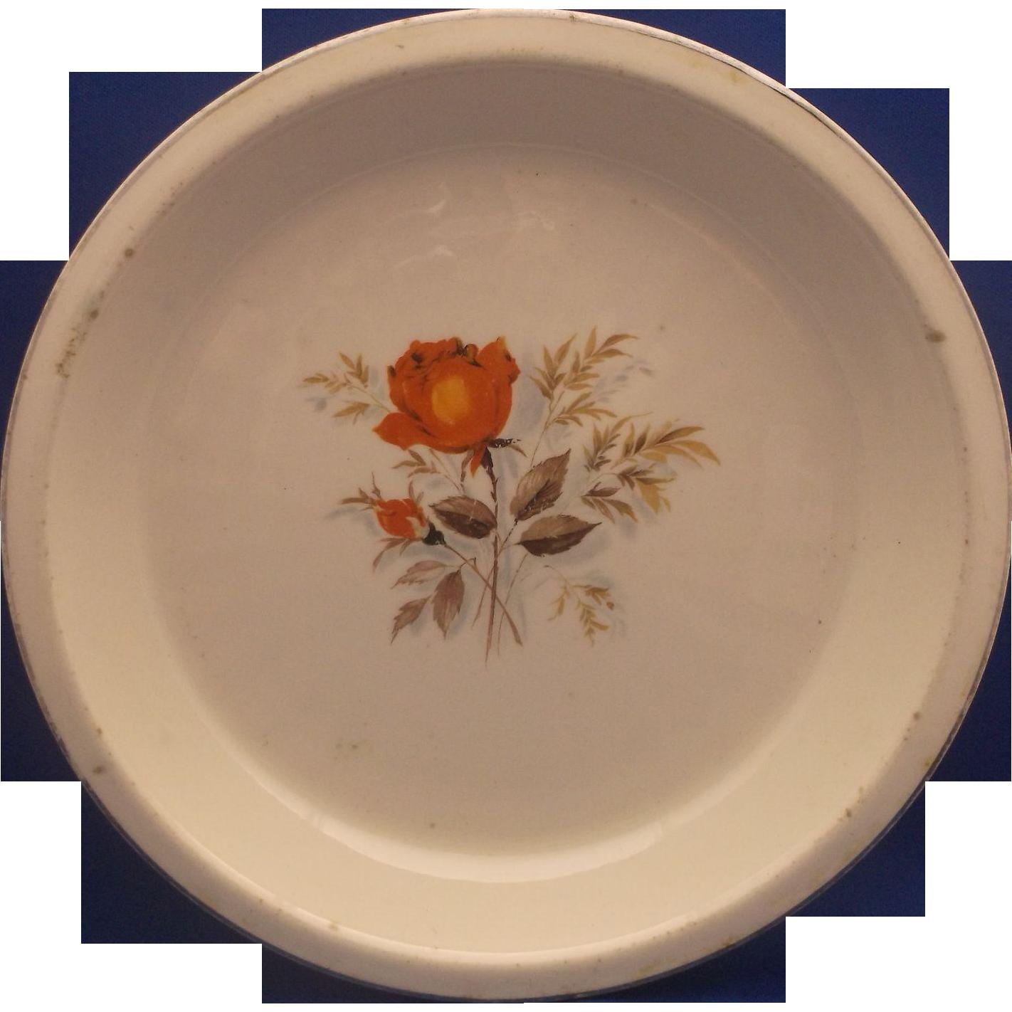 Paden City Pottery Pie Plate Baker Orange Rose Gold Trim