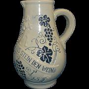 Trinkt Wie Eure Väter Aus Stein Den Wein Stoneware Cobalt Blue Grey Pitcher 1 L Germany