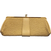 Cream Tweed Patent Clutch Convertible Purse