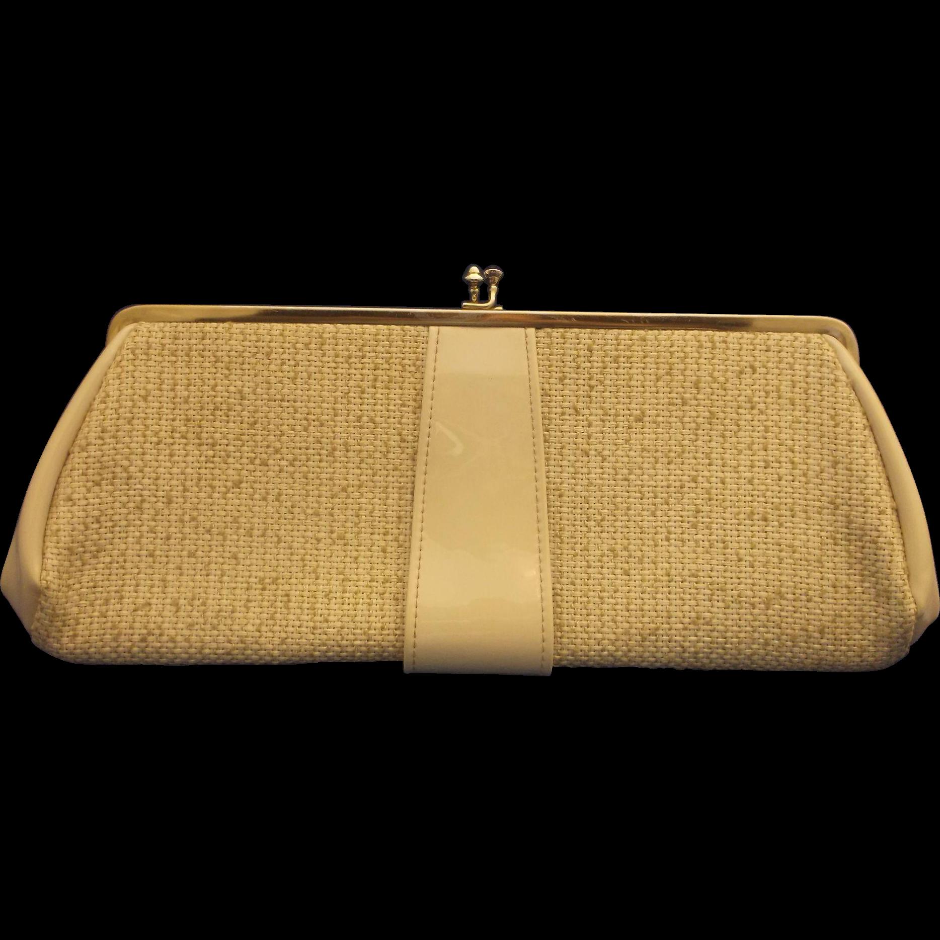 Cream Tweed Patent Clutch Convertible Purse
