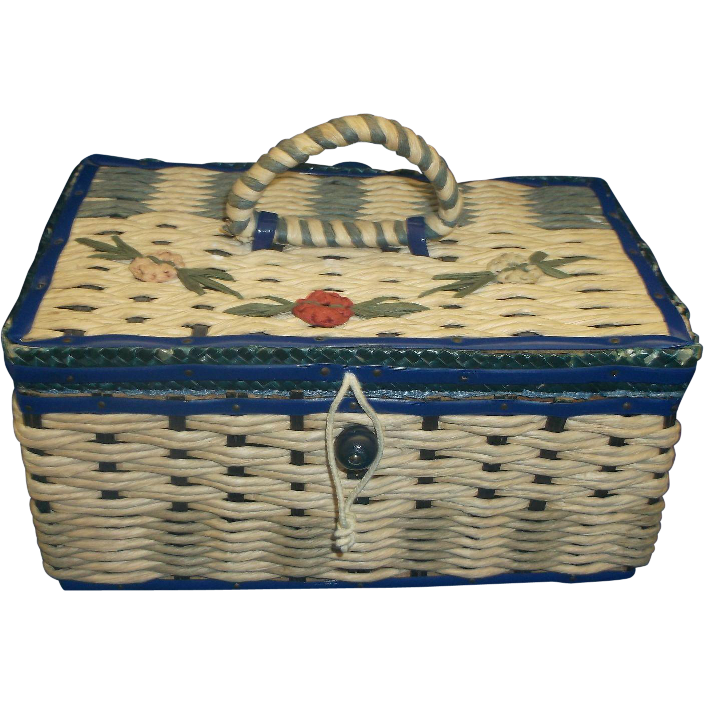 Small Straw Woven Sewing Basket Box Blue Trim Flowers Made In Japan