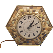 General Electric Mosaic Pattern Tile Earth Tones Wall Clock Electric