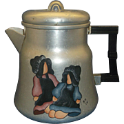 Wear-Ever Aluminum Coffee Pot Hand Painted Folk Art