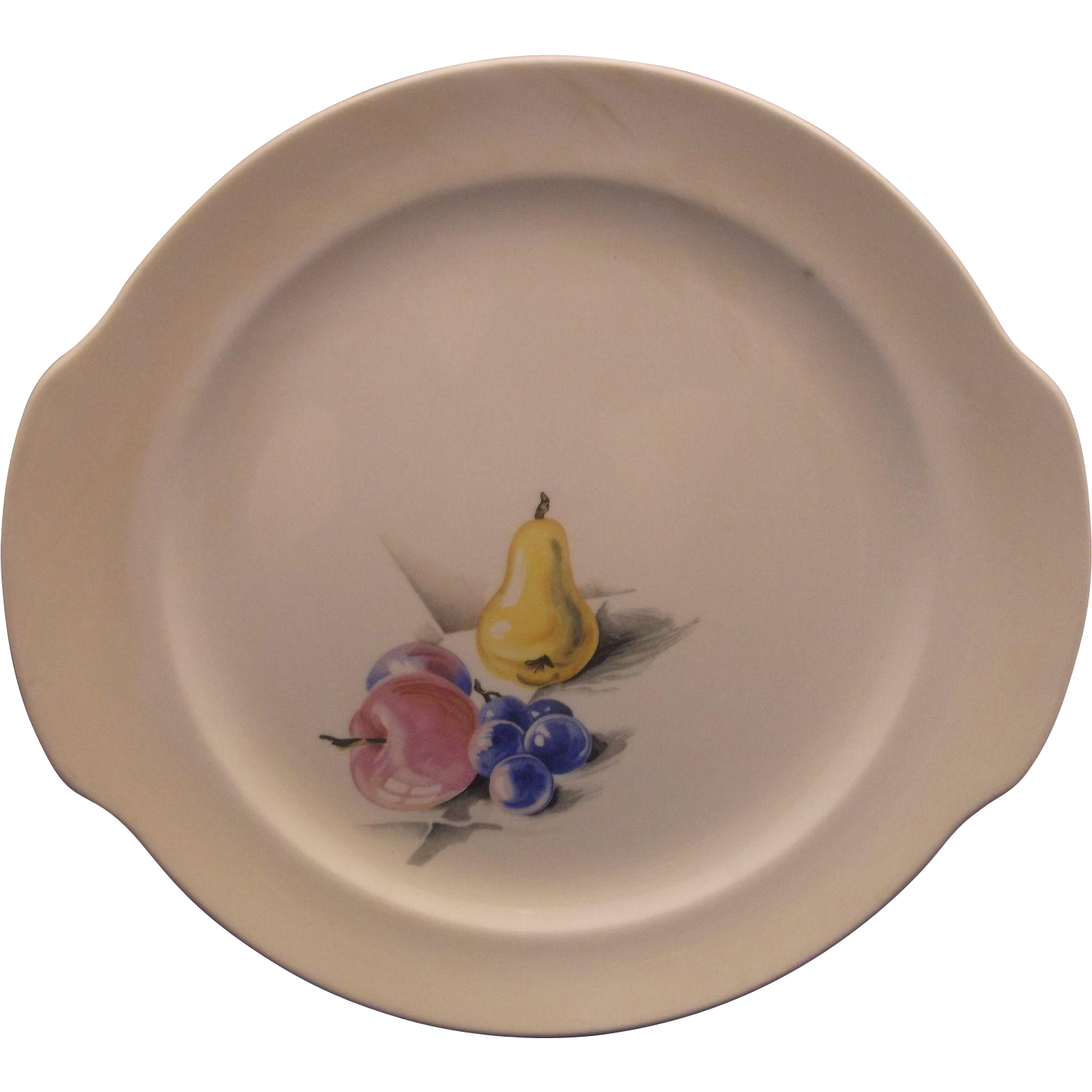 Knowles Fruits Tab Handle Cake Plate