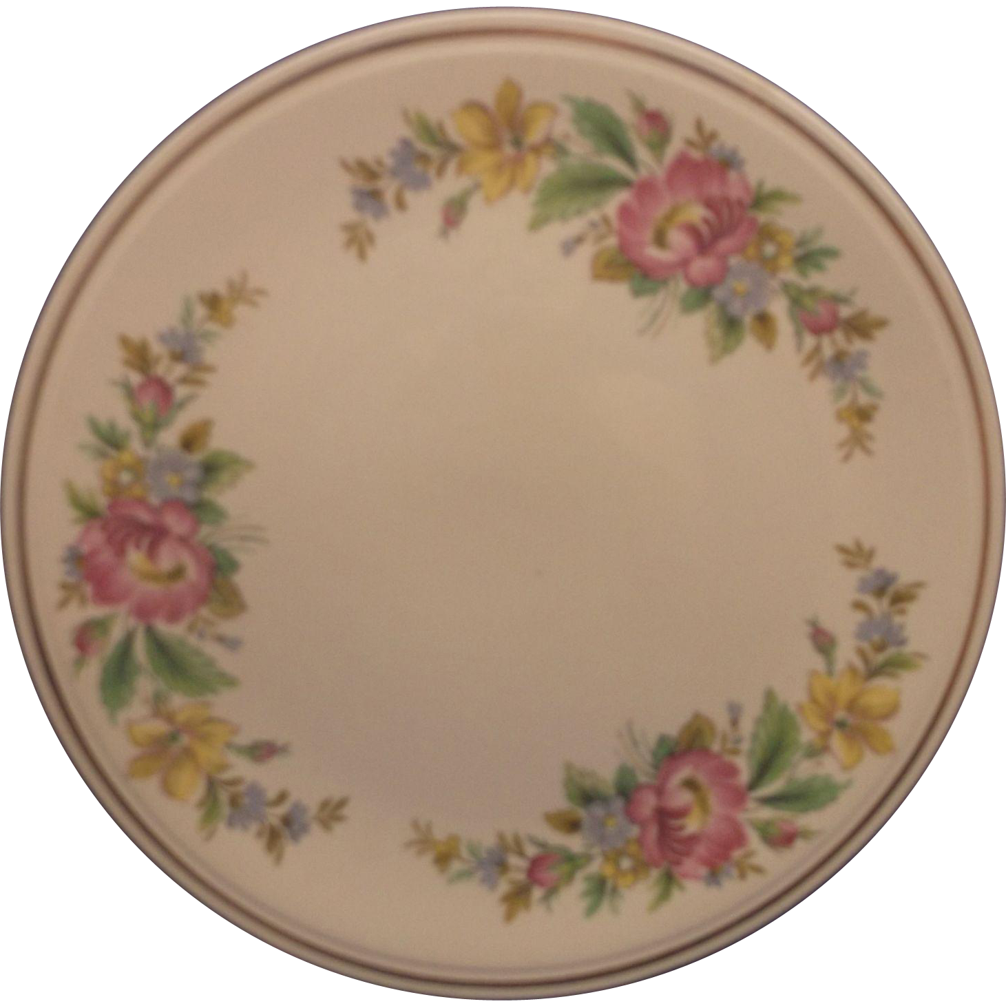 Spring Wreath Bright Floral Cake Plate Kitchen Kraft  Homer Laughlin