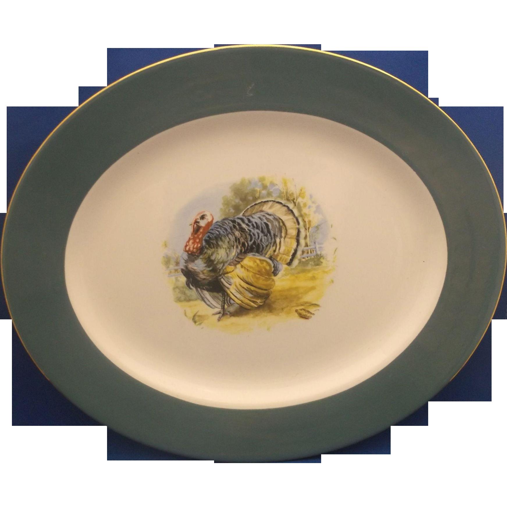 Homer Laughlin Eggshell Cavalier Turkey Platter Green Rim 13 IN 1950s