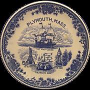 Plymouth, Mass Flow Blue Souvenir Plate Transferware