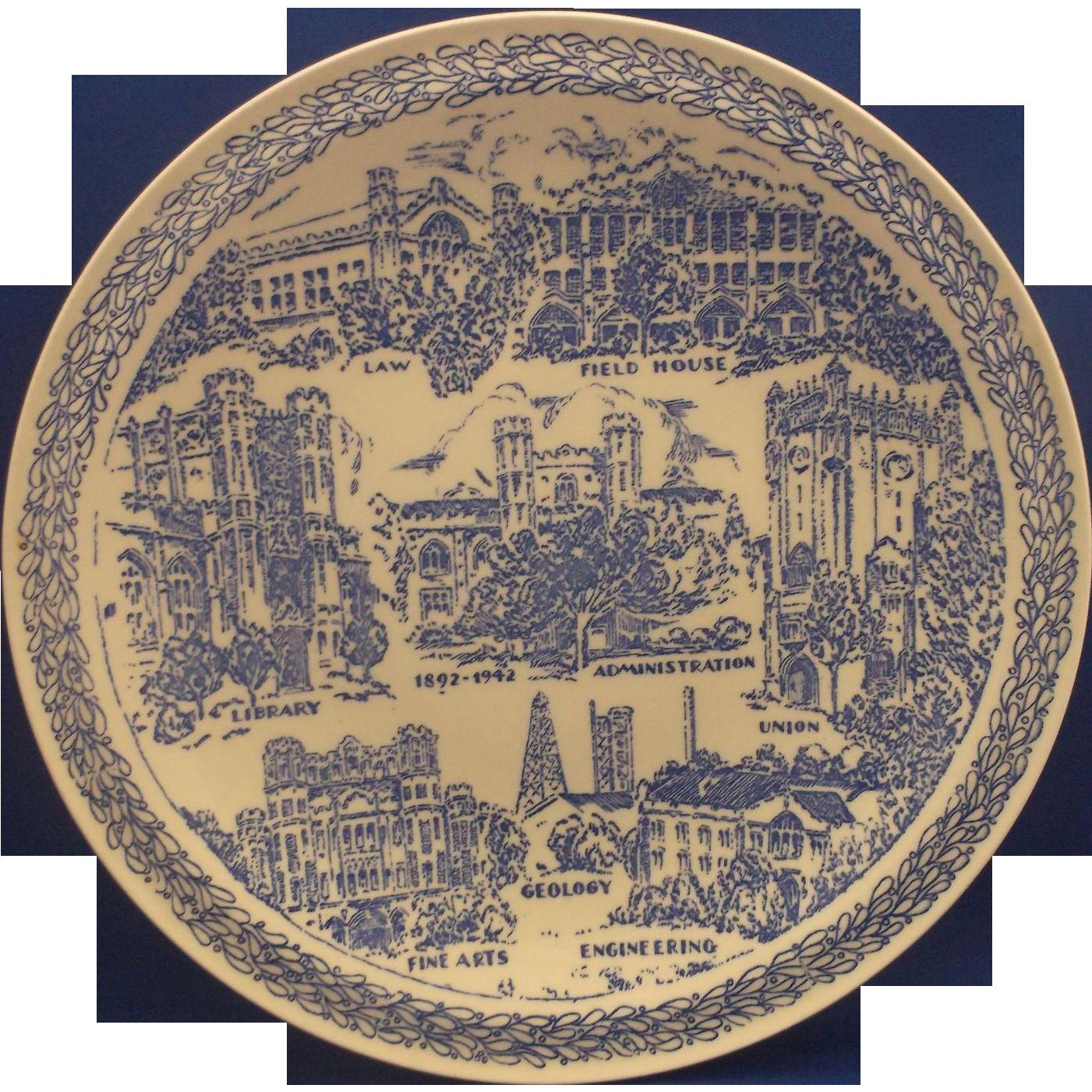 Vernon Kilns Soonerland University of Oklahoma Blue Transferware Souvenir Plate