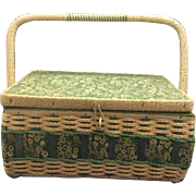 Dritz Green Floral Cream Sewing Basket Made in Korea Large