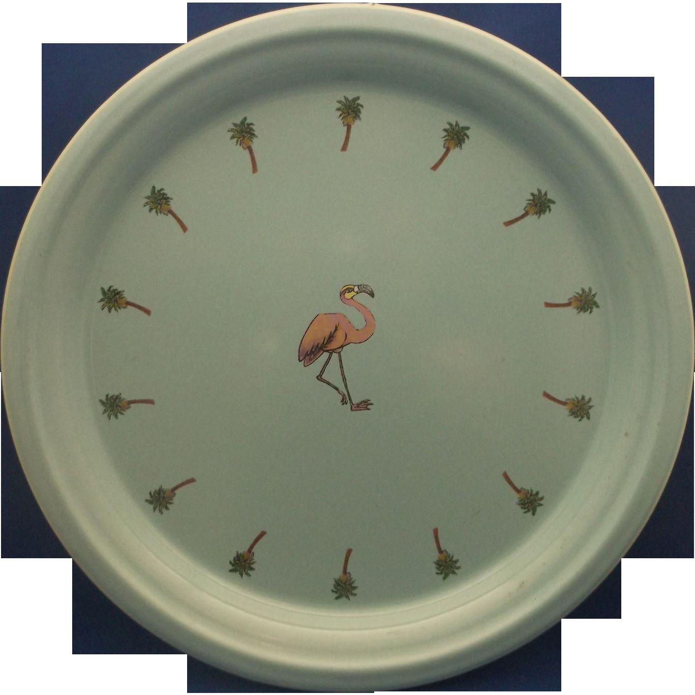 Marble Canyon Turquoise Enamel Pink Flamingo Palm Trees Platter Round Tray