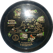 Virginia The Old Dominion State Hand Painted Lacquer Ware Tray Souvenir