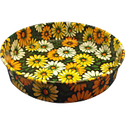 Flower Power Orange Yellow White Green Daisies Tin Lithographed Serving Tray Deep Round
