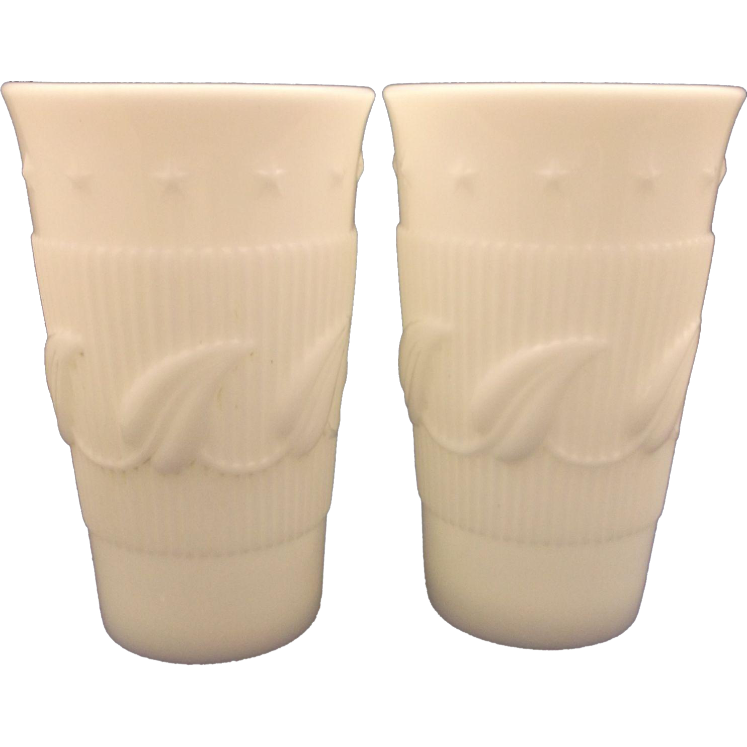 Fostoria Betsy Ross Wistar Milk Glass White Iced Tea Tumblers Pair
