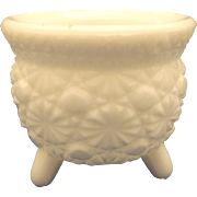 L.E. Smith Daisy Button Milk Glass Candle Holder Bucket Three Toes