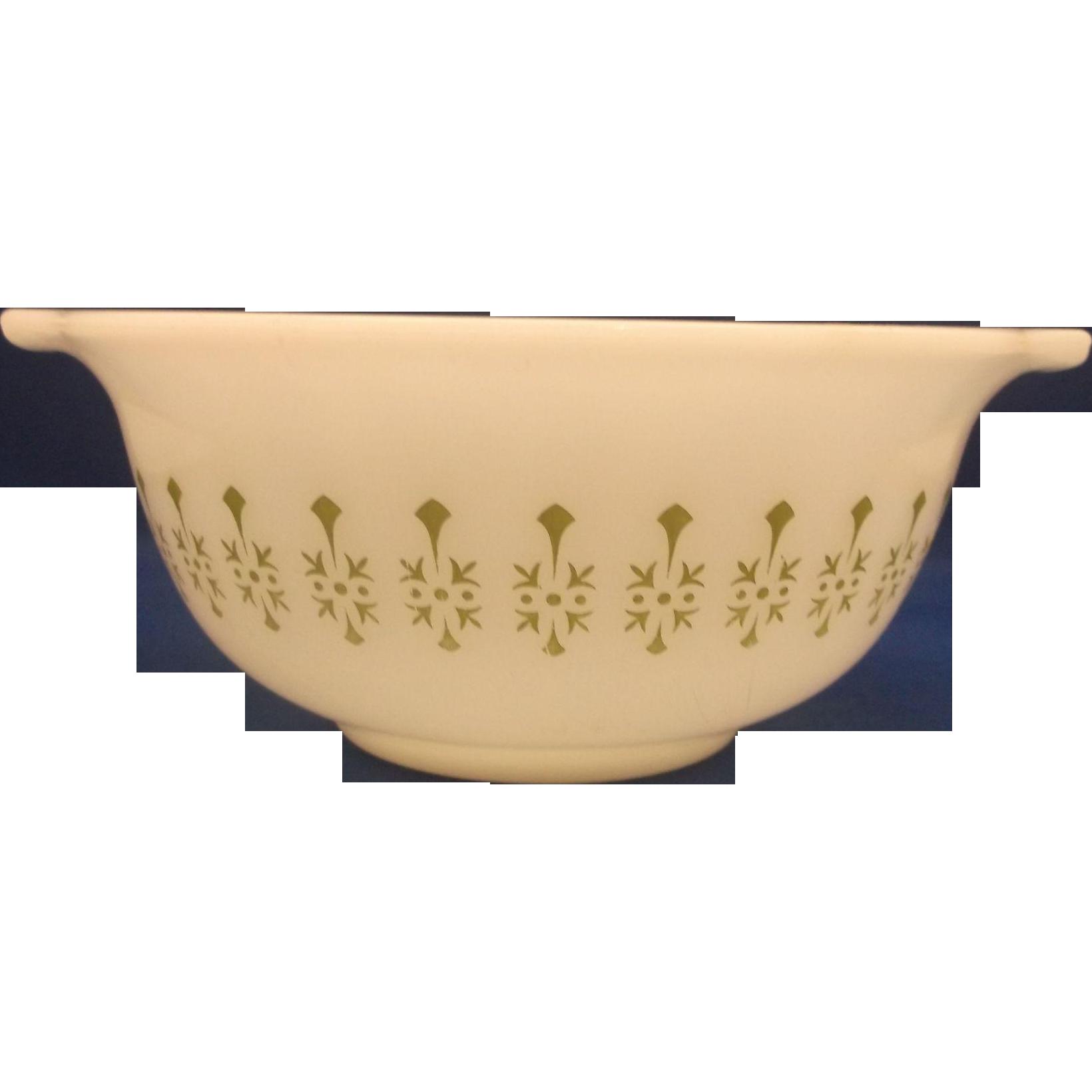 White Green Pattern Small Cinderella Mixing Bowl Glass