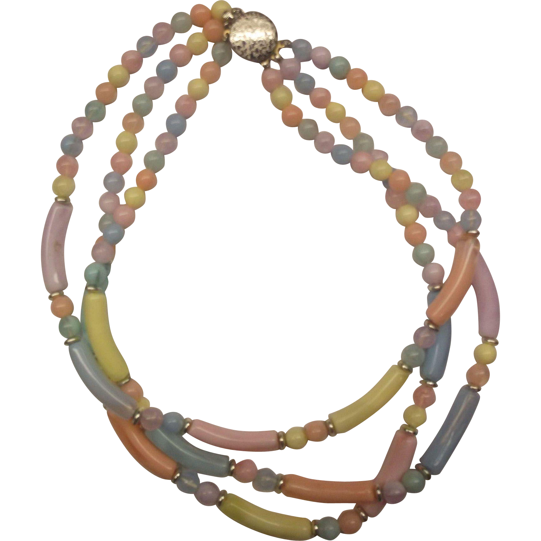 Pastel Lucite Triple Strand Necklace Pink Blue Purple Yellow
